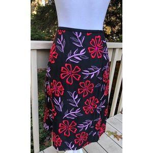 Tibi Silk Blend Skirt Embroidered Flowers Floral